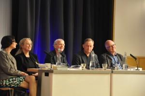 Od lewej: Fiona Sampson, Irena Grudzińska Gross, David Constantine, Kornelius Platelis, Denis MacShane